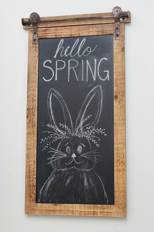 Hello Spring spring chalkboard with bunny.