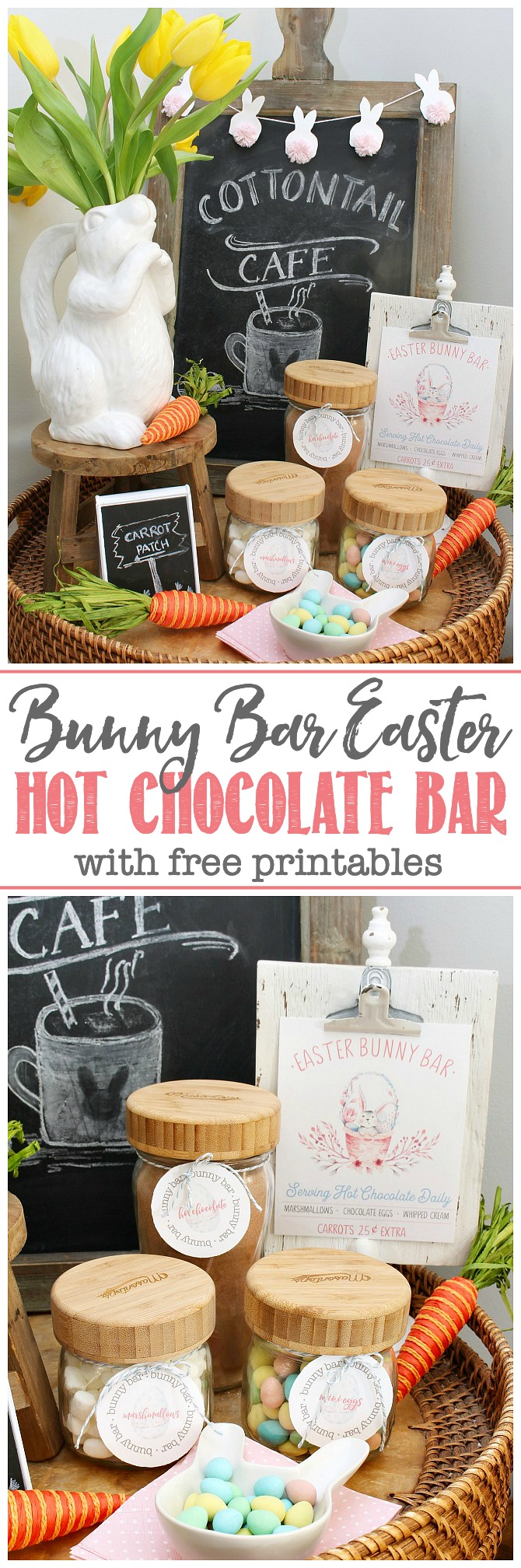 Cute Easter hot chocolate bar printables displayed in a spring vignette.