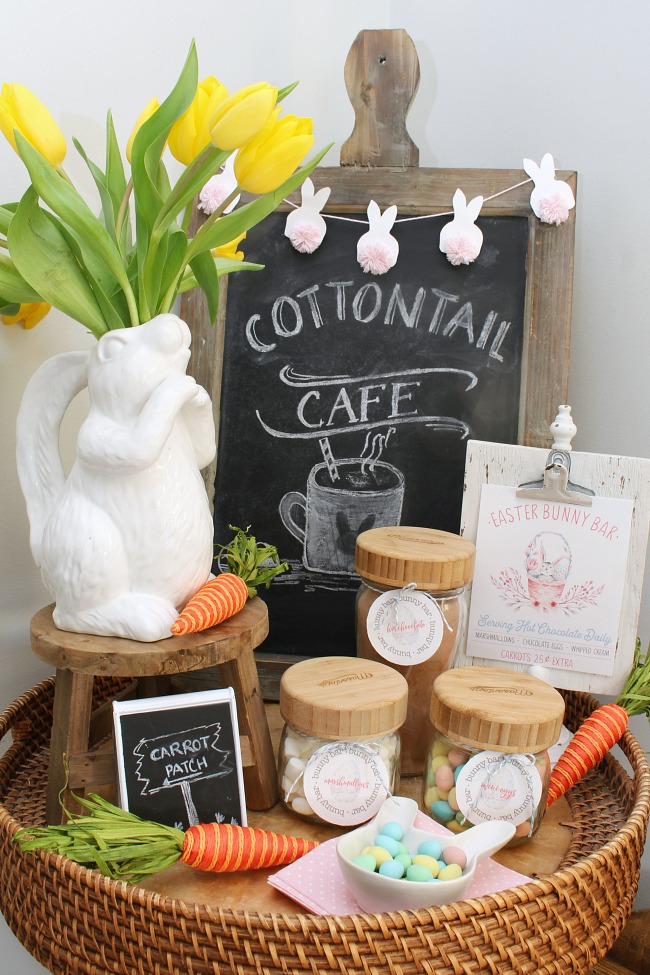 Cute Easter hot chocolate bar with free printable labels and print.