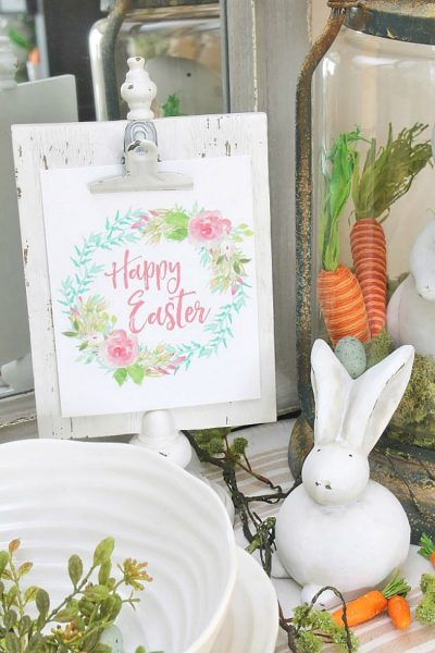 Free Happy Easter printable with flower wreath.