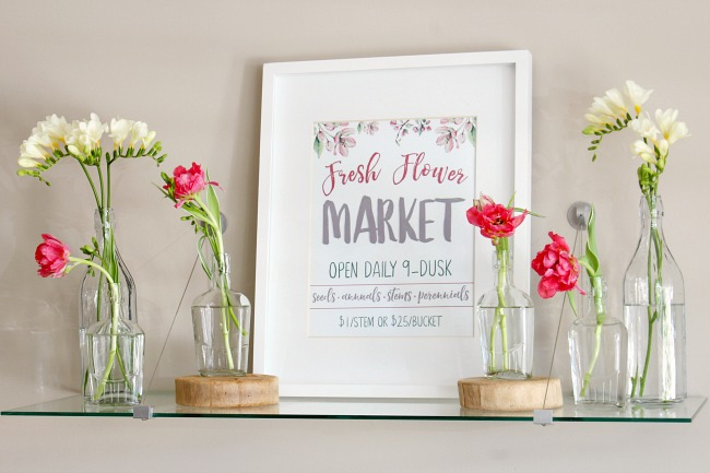Fresh Flower Market free spring printable used in a pretty spring vignette with fresh tulips and freesia.