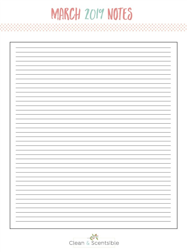 Blank notes sheet for the March Household Organization Diet.