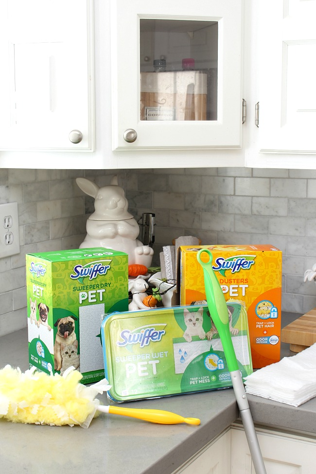 Swiffer pet cleaning products including Swiffer Sweeper dry and wet refills and Swiffer duster refills.