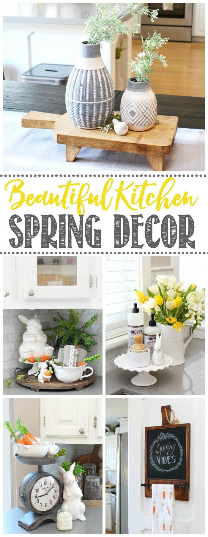 White farmhouse style kitchen decorated for spring with neutrals and a few pops of color.