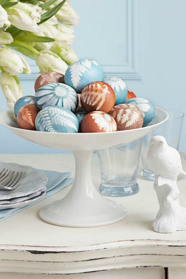 Botanical Easter eggs in a pedestal bowl.