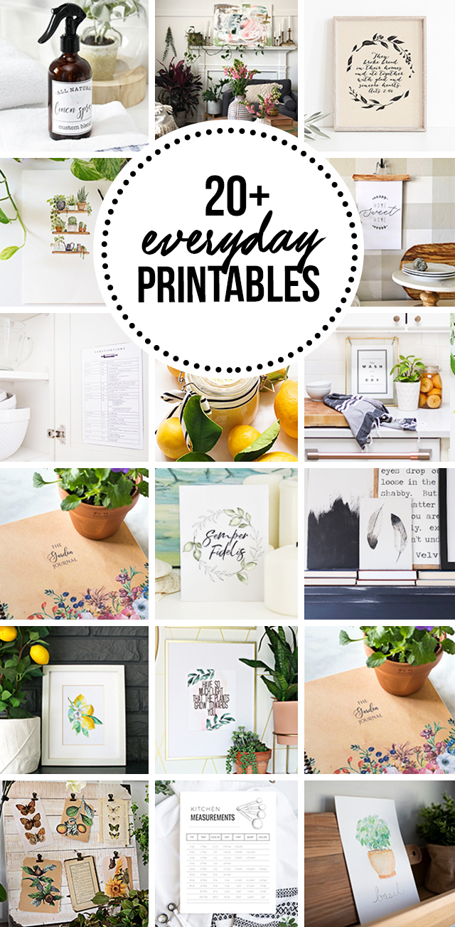 Awesome collection of free everyday printables for the home.