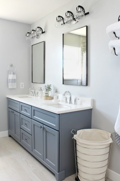 Coastal style bathroom with double vanity.