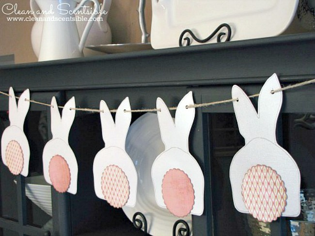 Cute Easter bunny bunting hanging on a hutch.