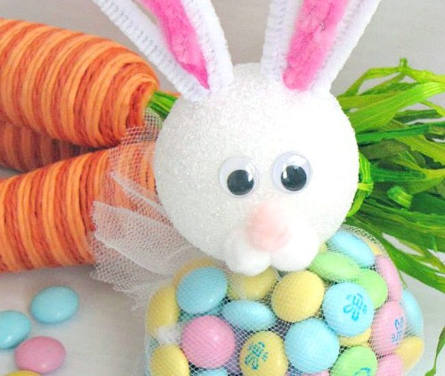DIY Easter bunny treats using Easter colored M&Ms and some basic craft supplies.