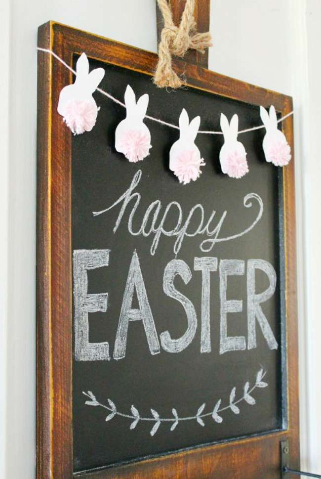Happy Easter chalkboard with cute pom pom bunny bunting.