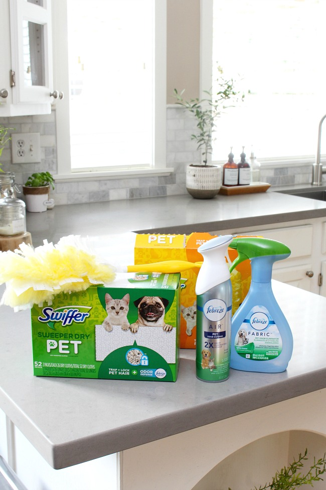 Swiffer Pet products and Febreze Pet Odor Eliminator.