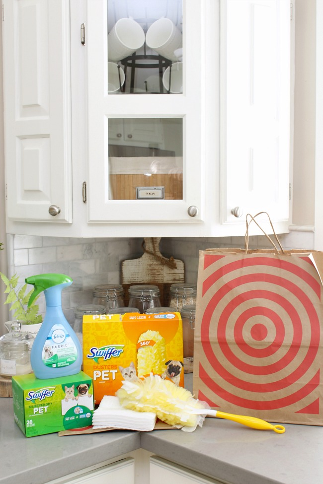 Swiffer and Febreze cleaning supplies to help get rid of pet odors.