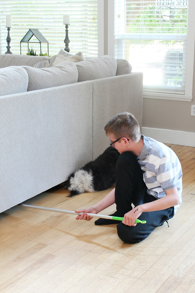 Teen using a Swiffer Sweeper under the sofa with dog looking for her toys.