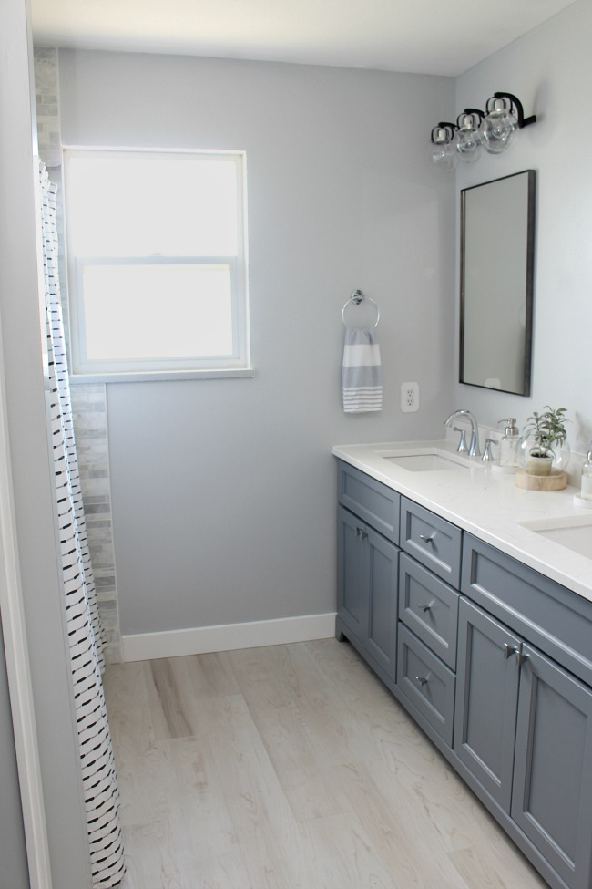 Coastal style bathroom makeover design.