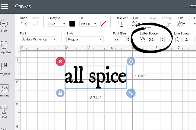 How to adjust letter space in Cricut Design Space to create spice jar labels.