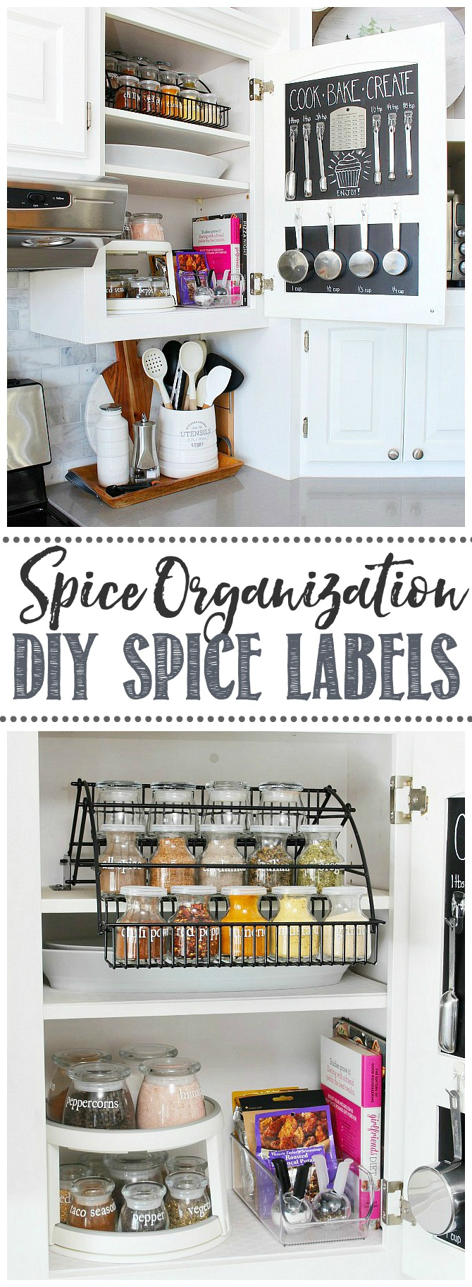 Spice organization ideas. Organized spice cupboard using a pull down shelf and lazy susan with DIY spice labels.