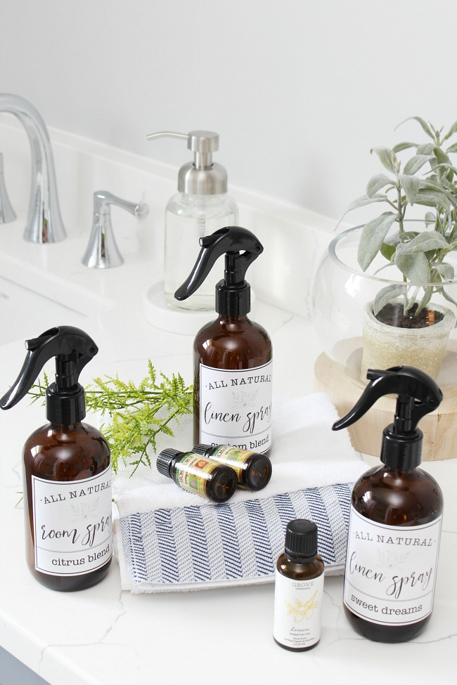 DIY room and linen spray in glass amber bottles with free printable labels.