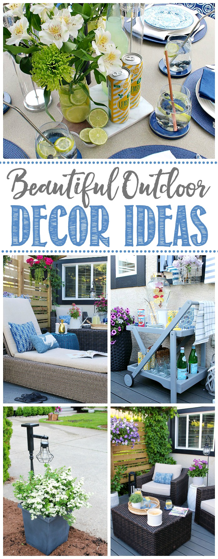 Collage of beautiful outdoor decor ideas.