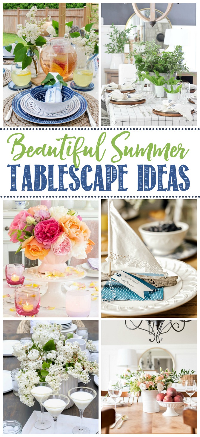 Collage of beautiful summer tablescapes.