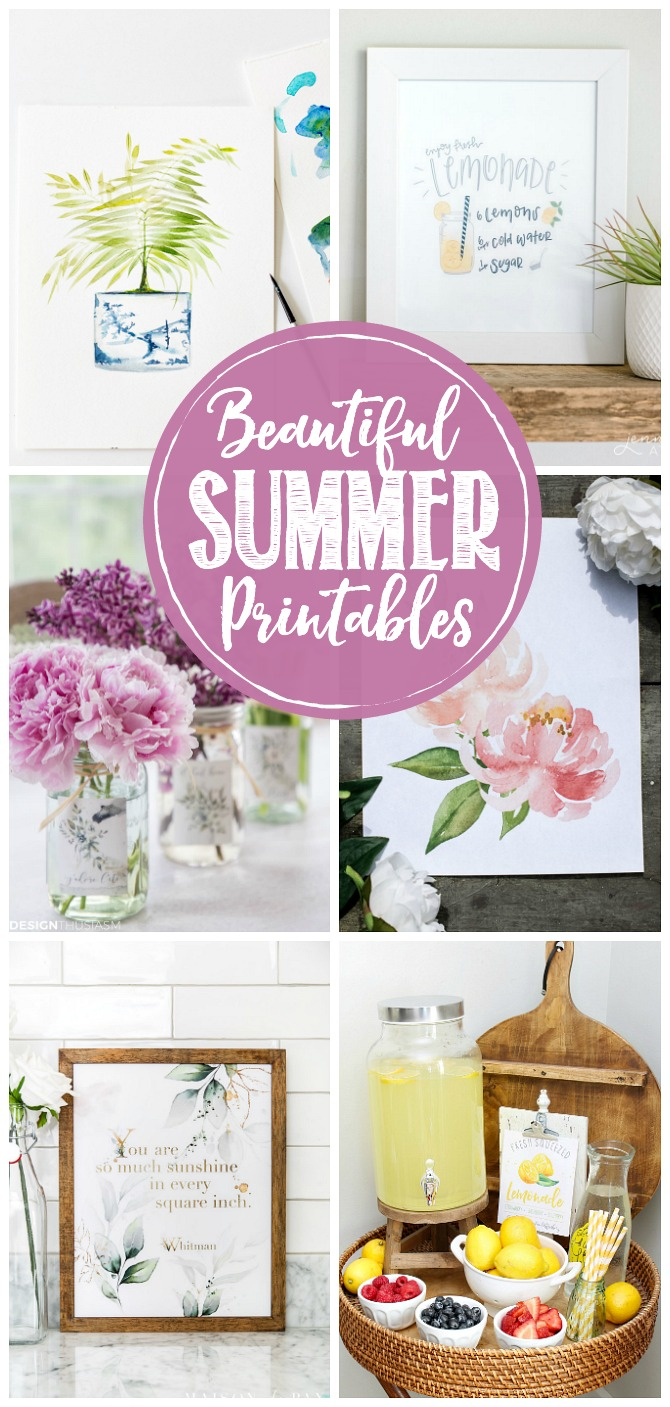 Collage of beautiful free summer printables.