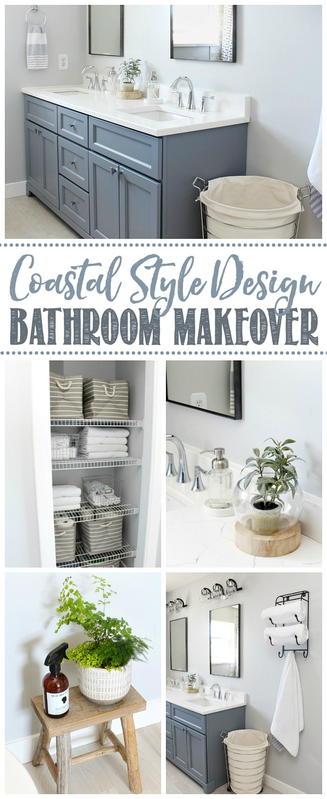 Collage of coastal style bathroom design and decor ideas.