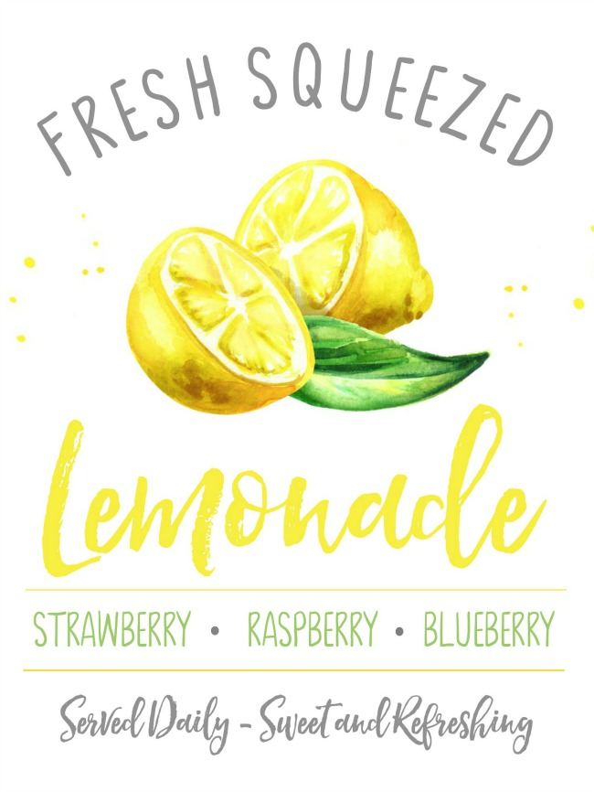 Fresh squeezed lemonade free summer printable.