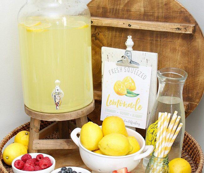 Lemonade bar with lemonade and fresh fruits. Free lemonade stand printables.