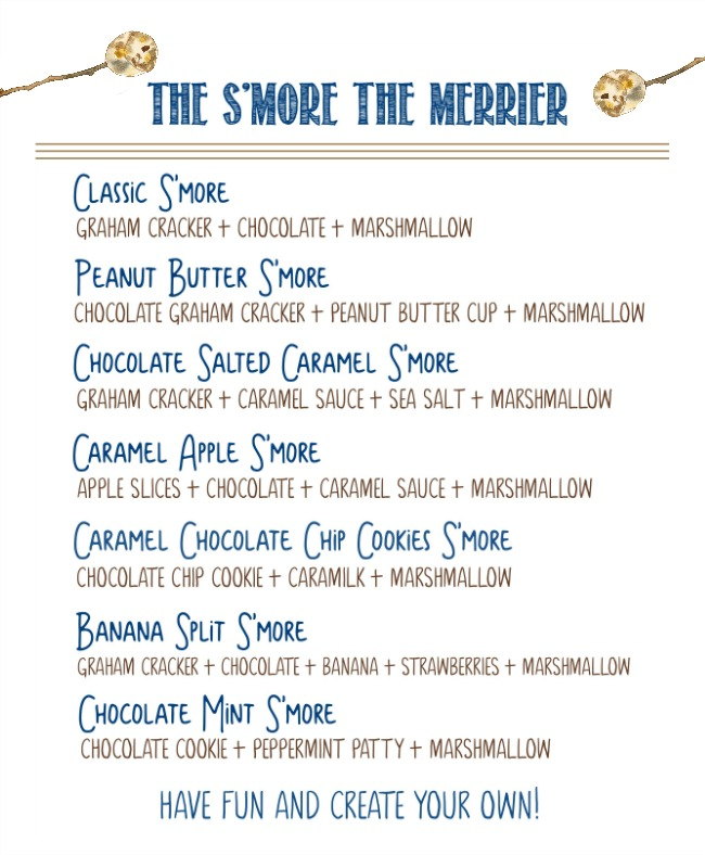 Printable s'mores flavor combinations for a DIY s'mores bar.