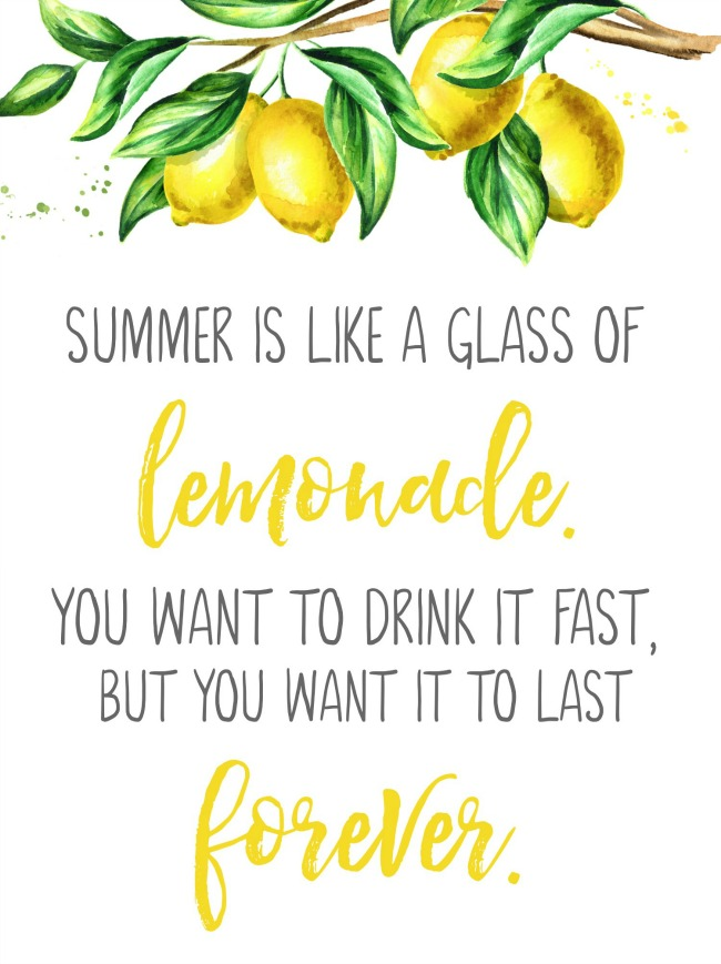 Summer is like a glass of lemonade free summer printable.