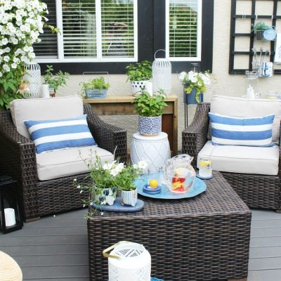 Beautiful outdoor sitting area on a backyard patio. Resin furniture with pops of blue.