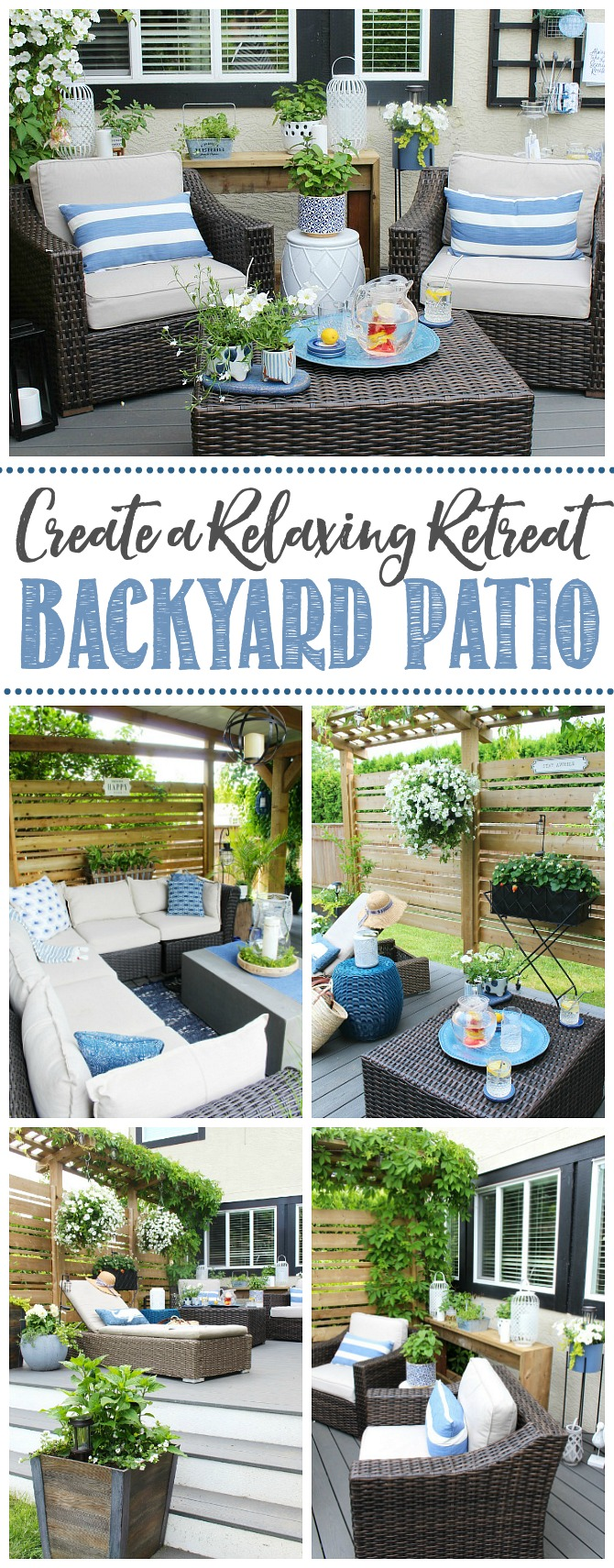 Collage of beautiful patio decor ideas.