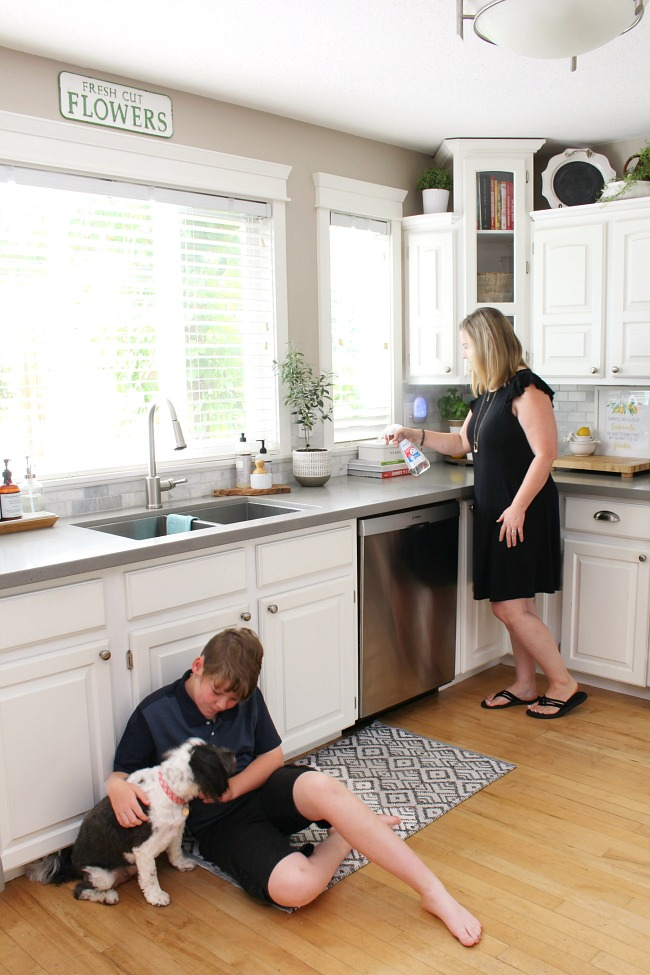 White kitchen with woman spraying Zevo bug spray to get rid of bugs.