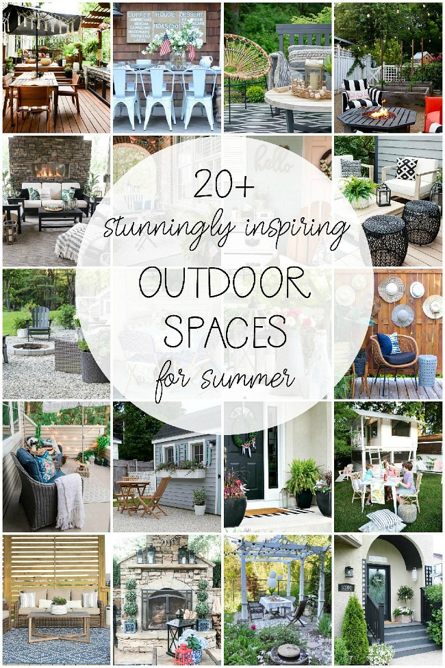 Collage of beautiful outdoor spaces decorated for summer.