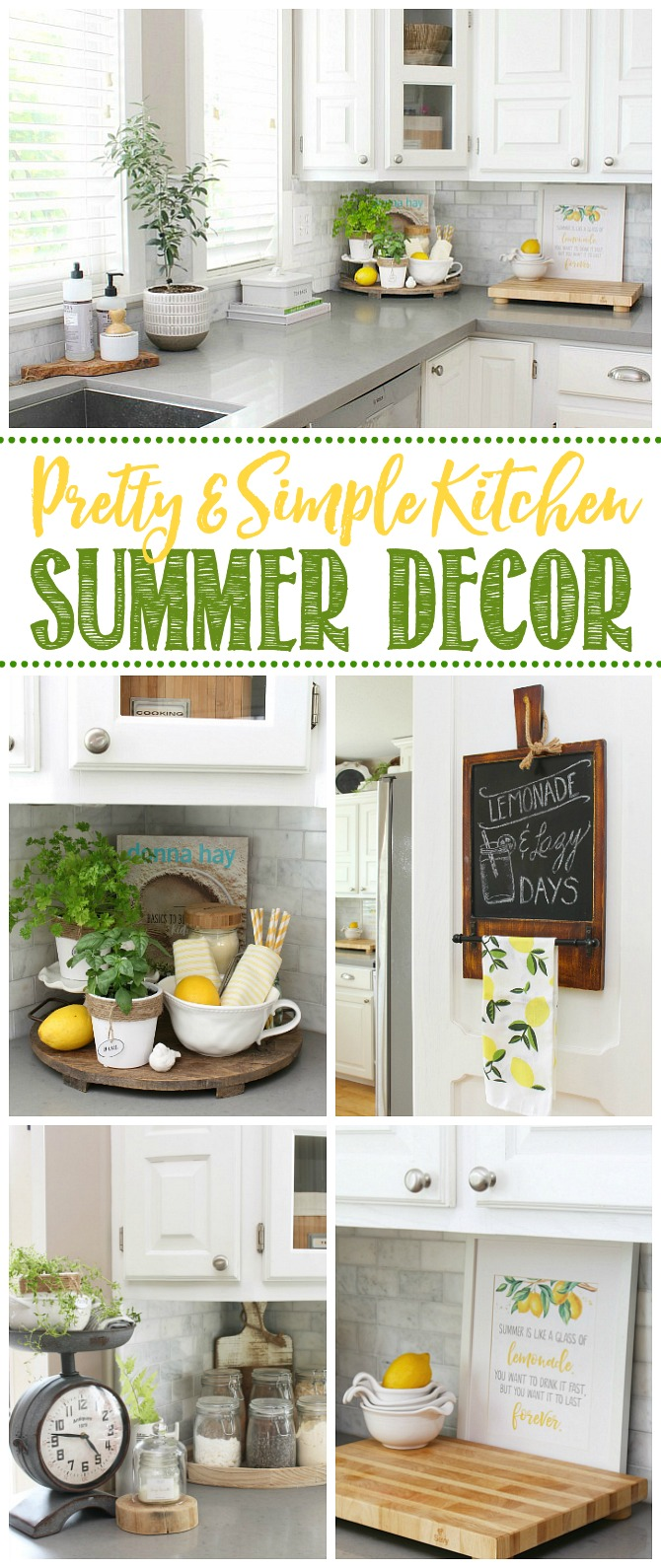 Collage of simple summer kitchen decor ideas with greens and yellows.