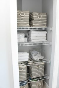 Declutter and organized bathroom closet.