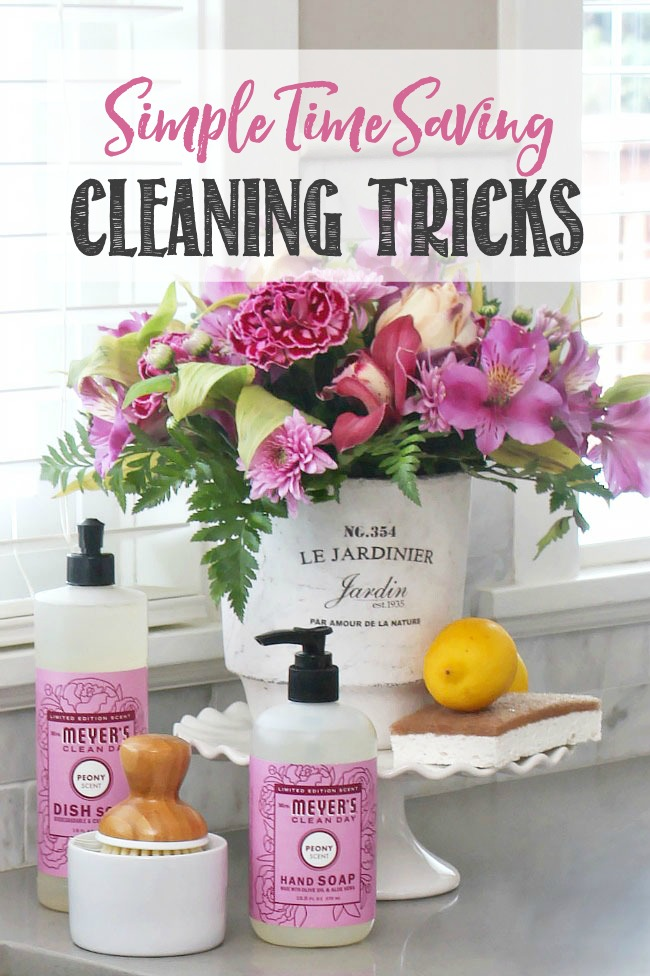 Time saving cleaning tricks. Pretty display of cleaning products beside sink using a cake stand.
