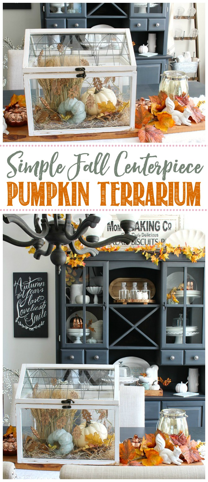 DIY Fall centerpiece using a terrarium, wheat, and faux pumpkins.