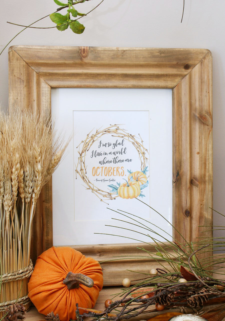 """I'm so glad I like in a world where there are Octobers."" framed fall printable in neutral tones."
