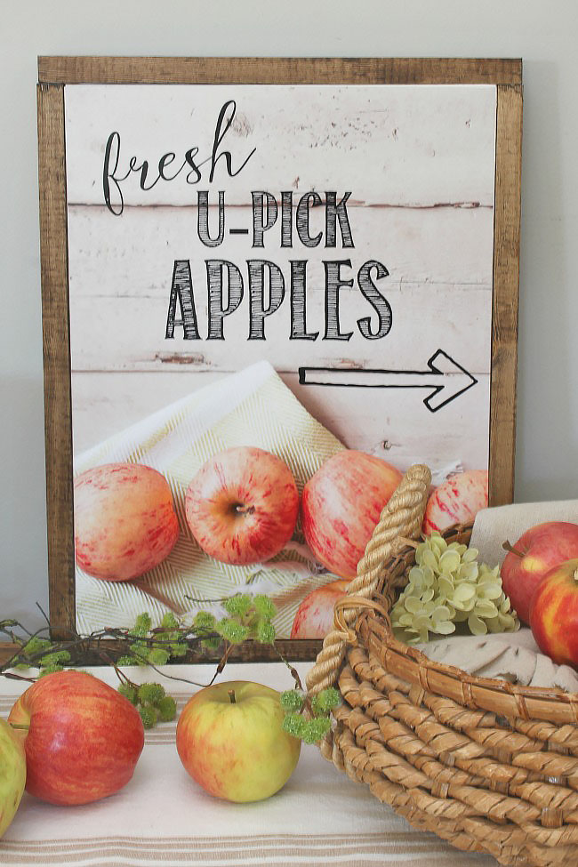 U-pick apples free printables in a DIY wood framed canvas.