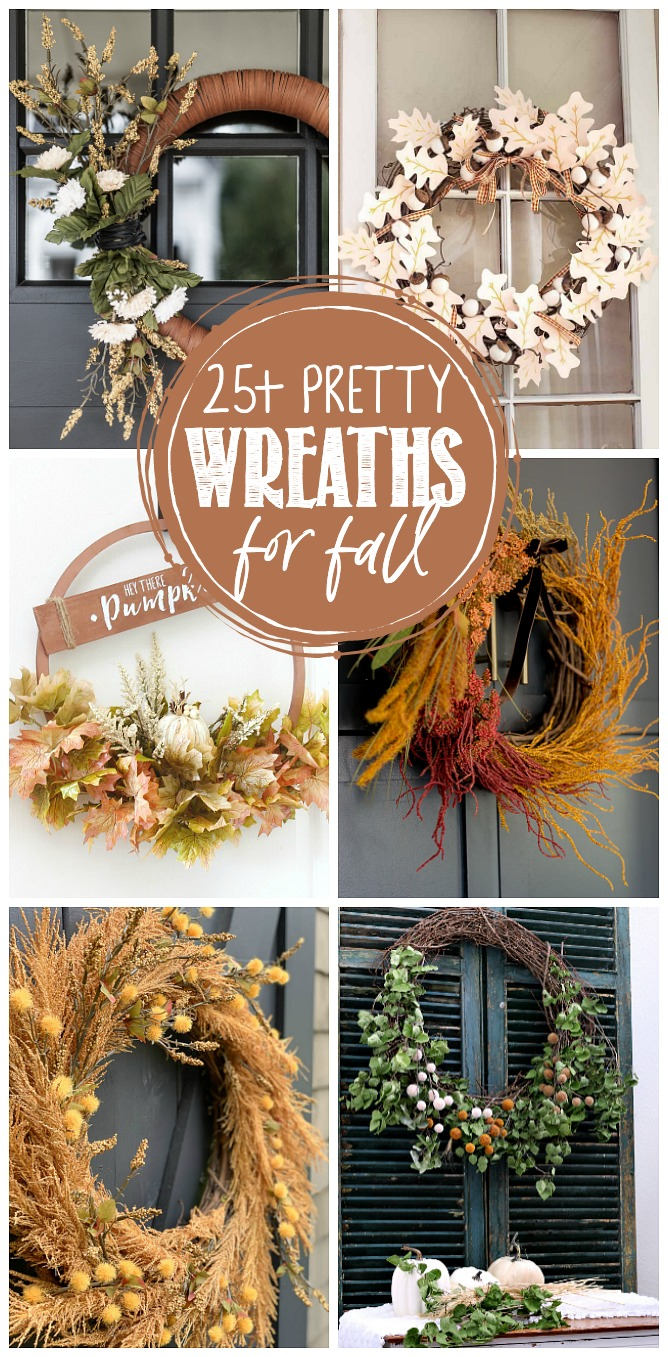 Collection of beautiful DIY fall wreaths.