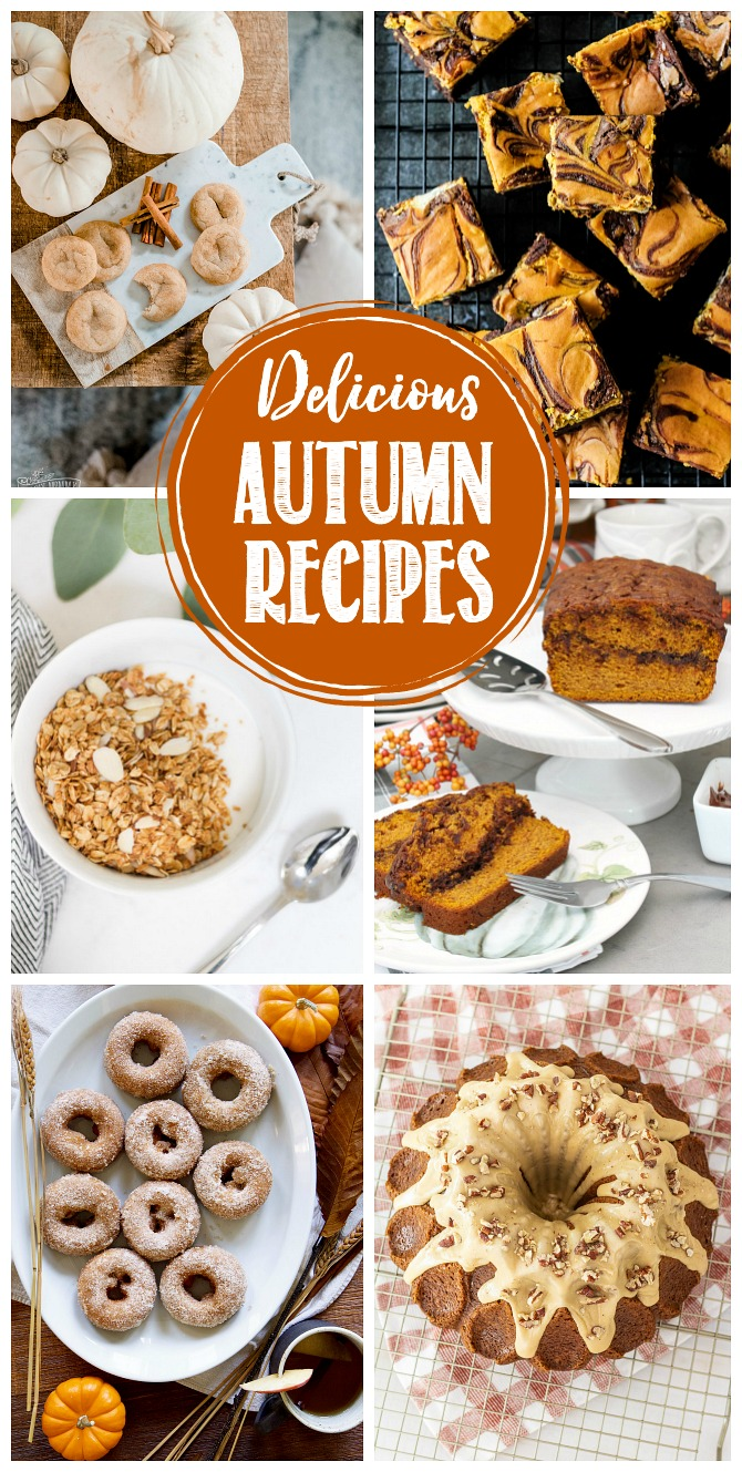 Collage of delicious fall recipes.