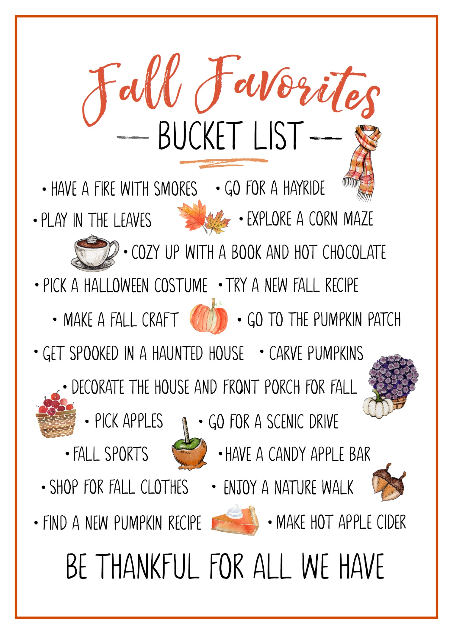 Cute fall favorites bucket list free fall printable.