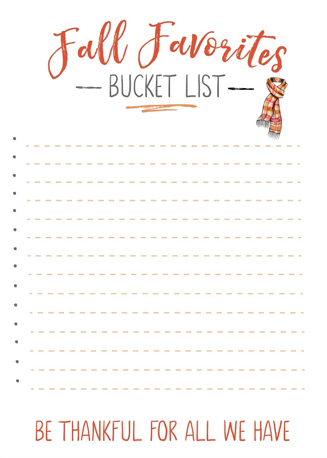 Blank fall bucket list to fill in your must-do fall activities.
