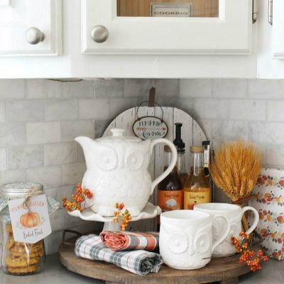 Fall beverage bar with owl tea set and flavored syrups.
