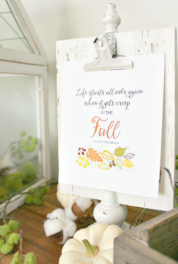 Life starts all over again when it gets crisp in the fall - free fall printable in a white clipboard frame.