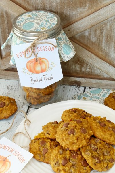 Pumpkin season free printable tags for pumpkin chocolate chip cookies.