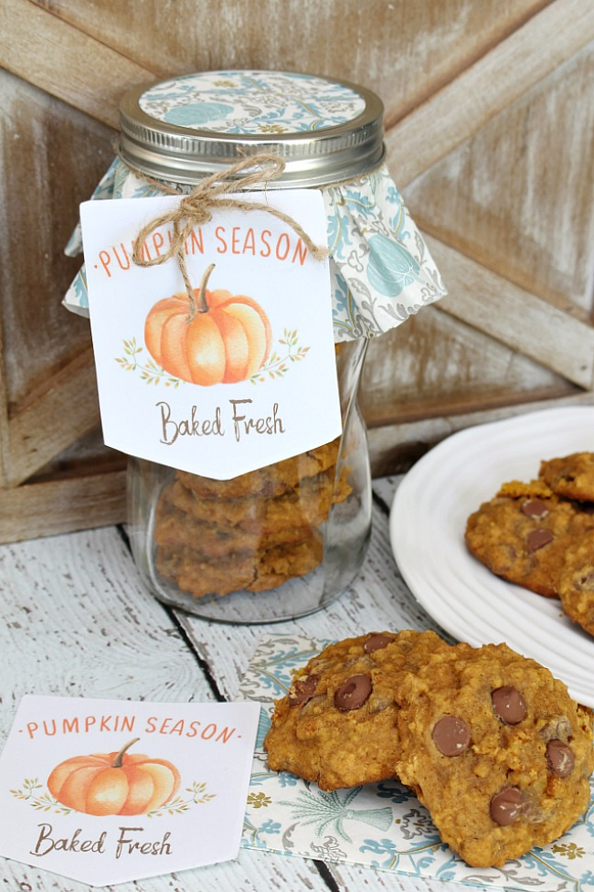 Pumpkin chocolate chip cookies on a plate and mason jar filled with cookies for a sweet fall gift.
