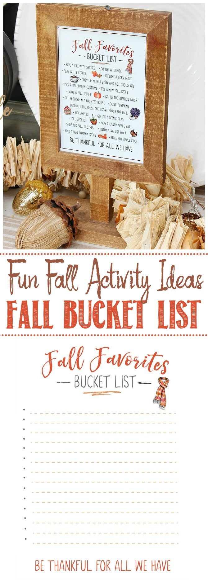 Fall favorites free printable bucket list in two versions.