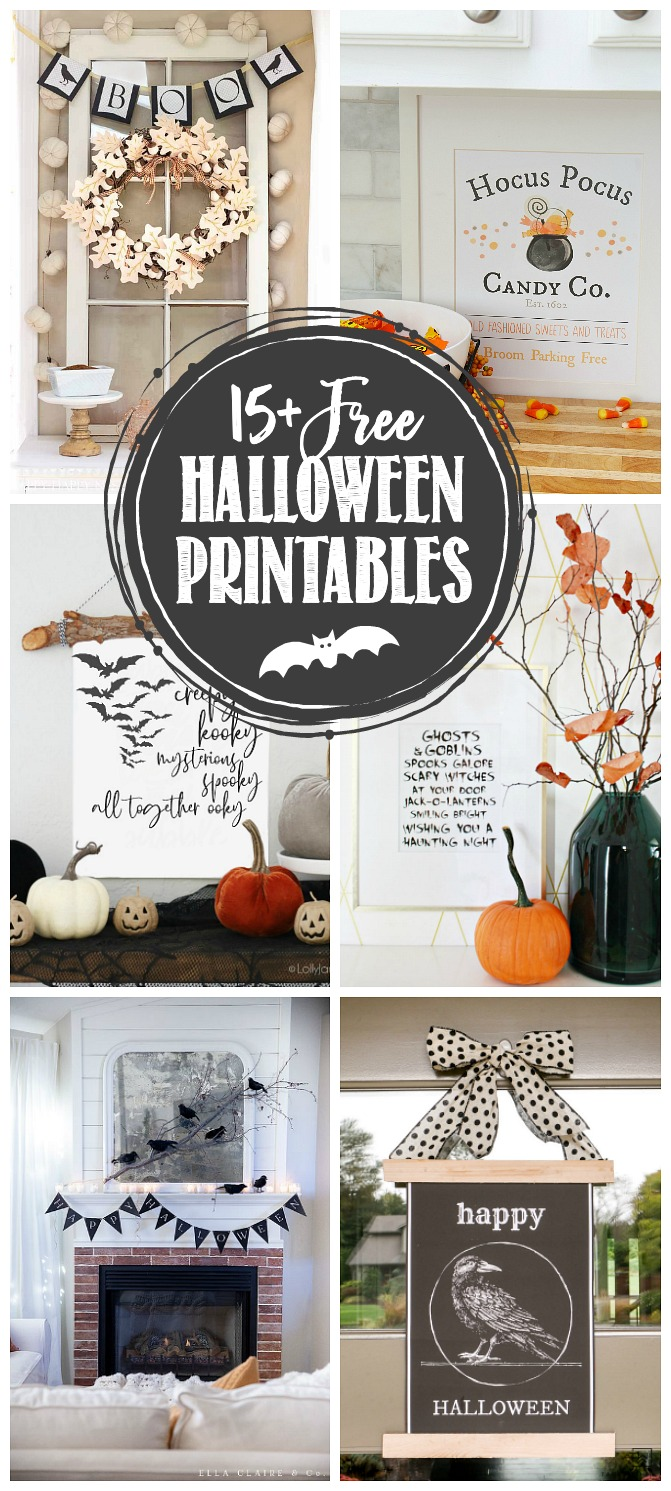 Collection of spooky free Halloween printables.