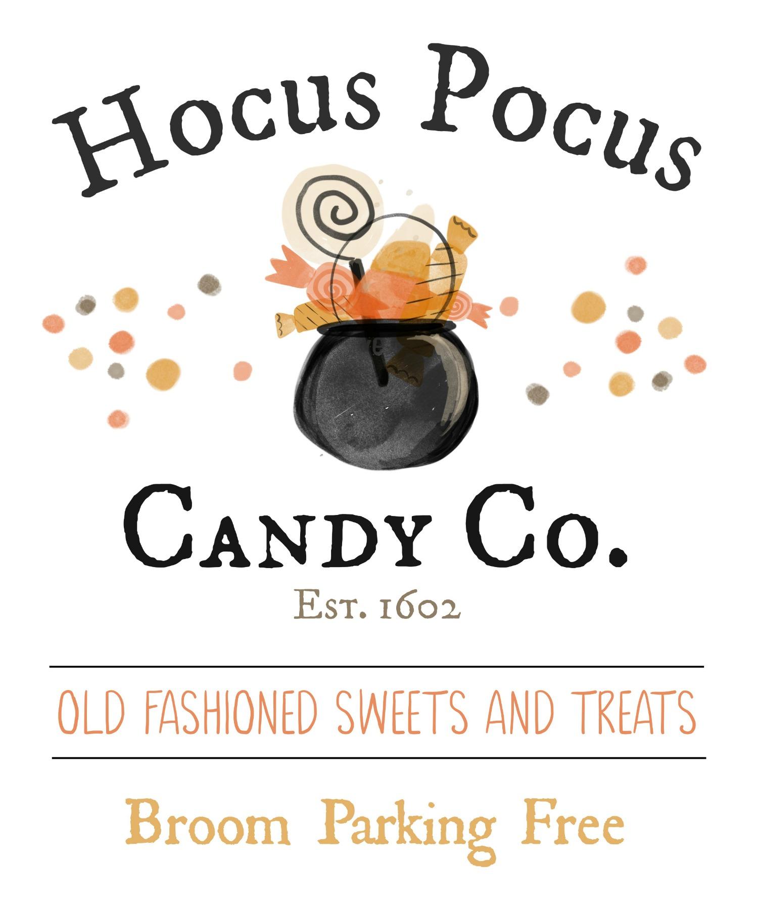Hocus Pocus Candy Co. free Halloween printable.